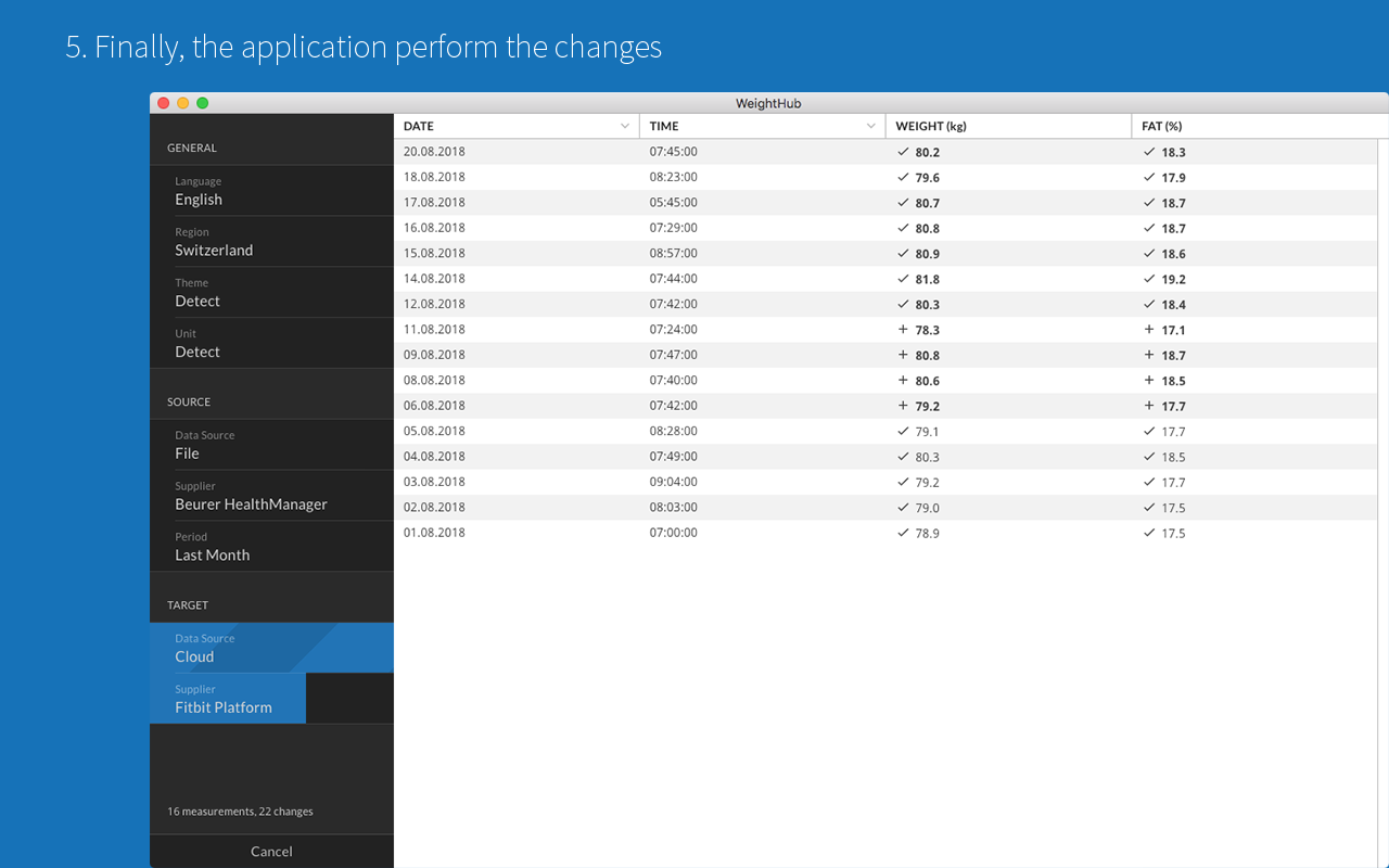 5. Finally, the application perform the changes